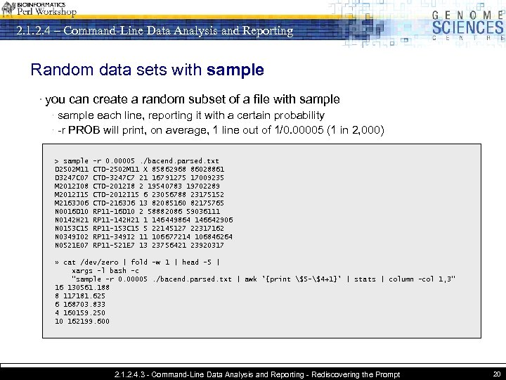 2. 1. 2. 4 – Command-Line Data Analysis and Reporting Random data sets with