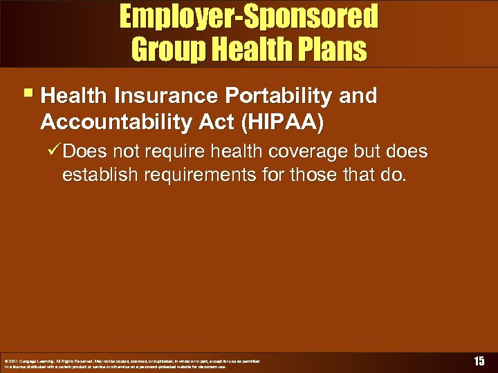 Employer-Sponsored Group Health Plans § Health Insurance Portability and Accountability Act (HIPAA) üDoes not