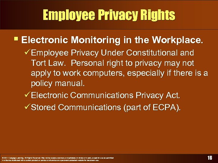 Employee Privacy Rights § Electronic Monitoring in the Workplace. üEmployee Privacy Under Constitutional and