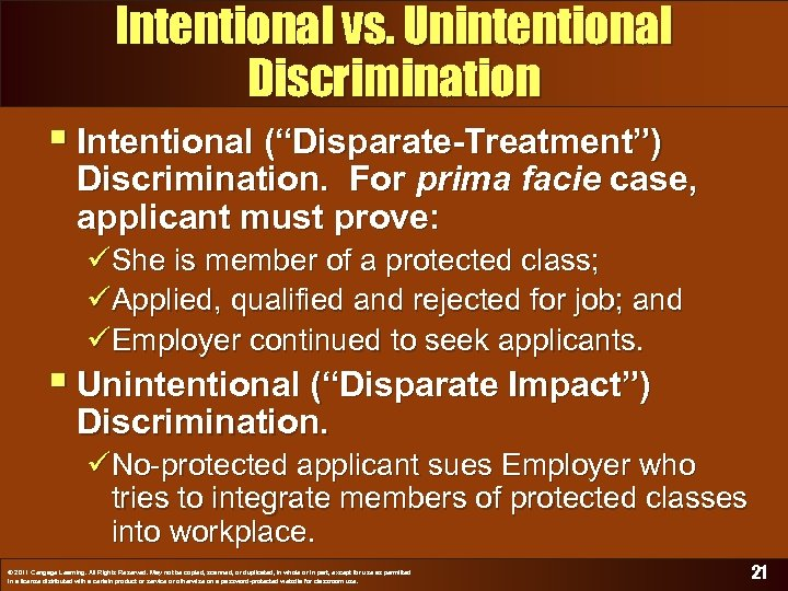 "Intentional vs. Unintentional Discrimination § Intentional (""Disparate-Treatment"") Discrimination. For prima facie case, applicant must"
