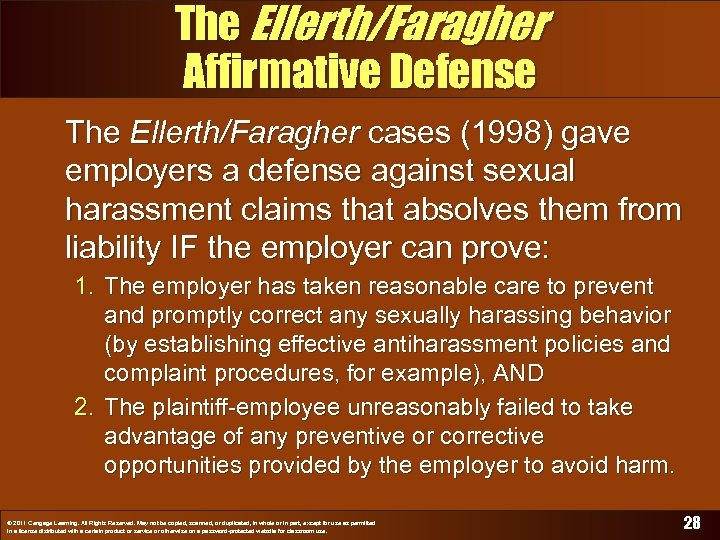 The Ellerth/Faragher Affirmative Defense The Ellerth/Faragher cases (1998) gave employers a defense against sexual