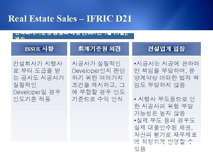 Real Estate Sales – IFRIC D 21 한국회계기준원 공정회 내용 (2007년 9월 13일), 계속
