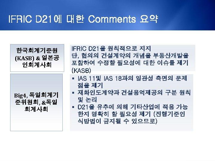 IFRIC D 21에 대한 Comments 요약 한국회계기준원 (KASB) & 일본공 인회계사회 Big 4, 독일회계기