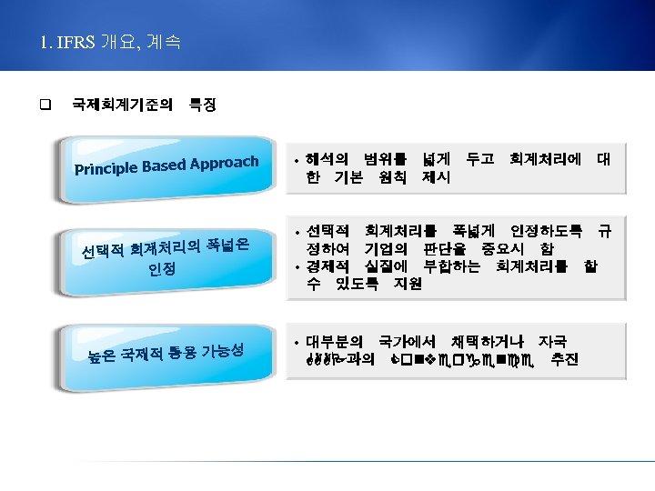 1. IFRS 개요, 계속 q 국제회계기준의 특징 roach Principle Based App 넓은 선택적 회계처리의