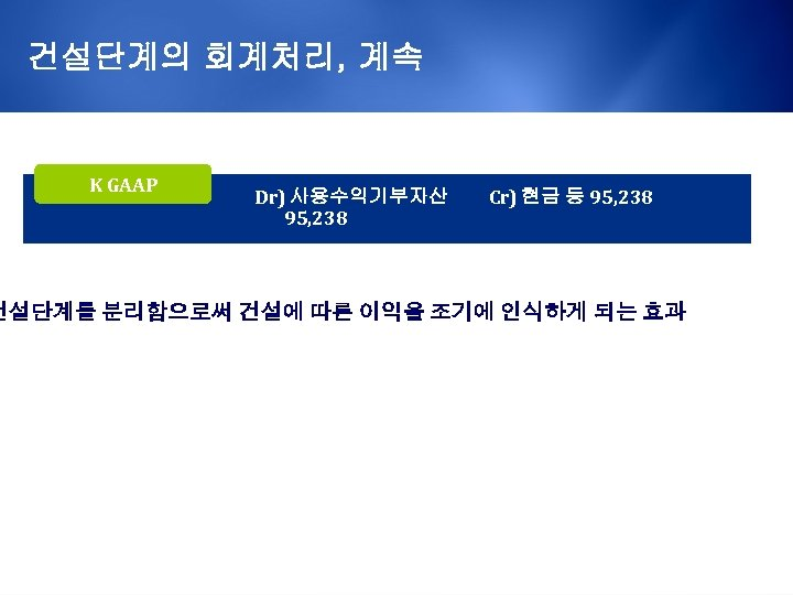 건설단계의 회계처리, 계속 K GAAP Dr) 사용수익기부자산 95, 238 Cr) 현금 등 95, 238