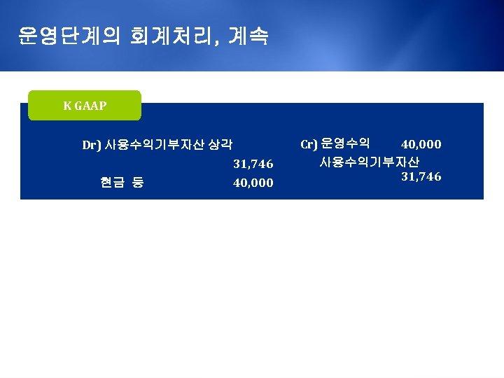 운영단계의 회계처리, 계속 K GAAP Dr) 사용수익기부자산 상각 현금 등 31, 746 40, 000