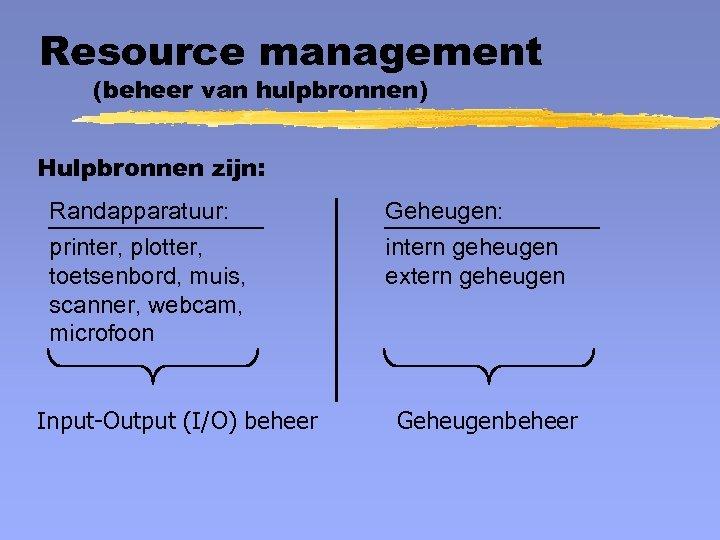 Resource management (beheer van hulpbronnen) Hulpbronnen zijn: Randapparatuur: printer, plotter, toetsenbord, muis, scanner, webcam,