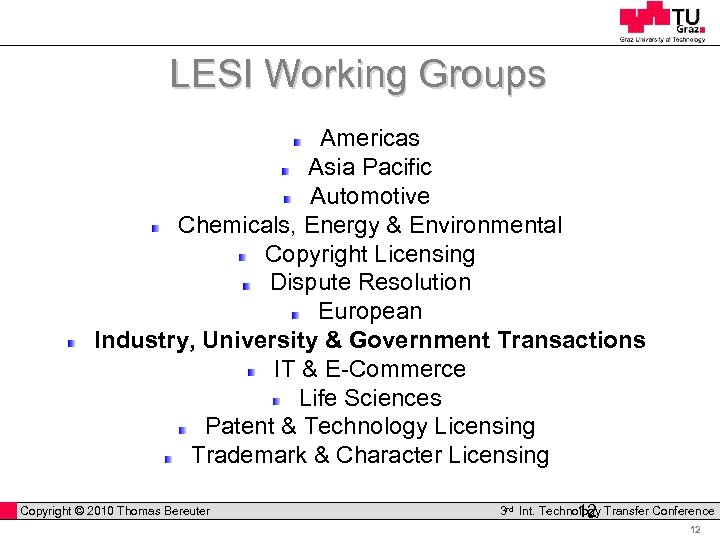 LESI Working Groups Americas Asia Pacific Automotive Chemicals, Energy & Environmental Copyright Licensing Dispute
