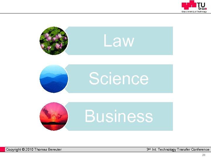Law Science Business Copyright © 2010 Thomas Bereuter Professor Horst Cerjak, 19. 12. 2005