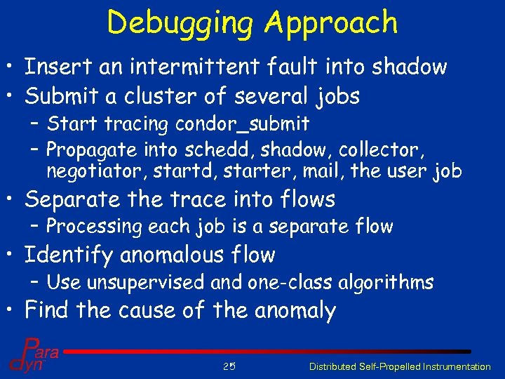 Debugging Approach • Insert an intermittent fault into shadow • Submit a cluster of