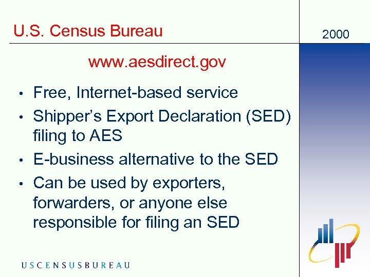 U. S. Census Bureau www. aesdirect. gov • • Free, Internet-based service Shipper's Export