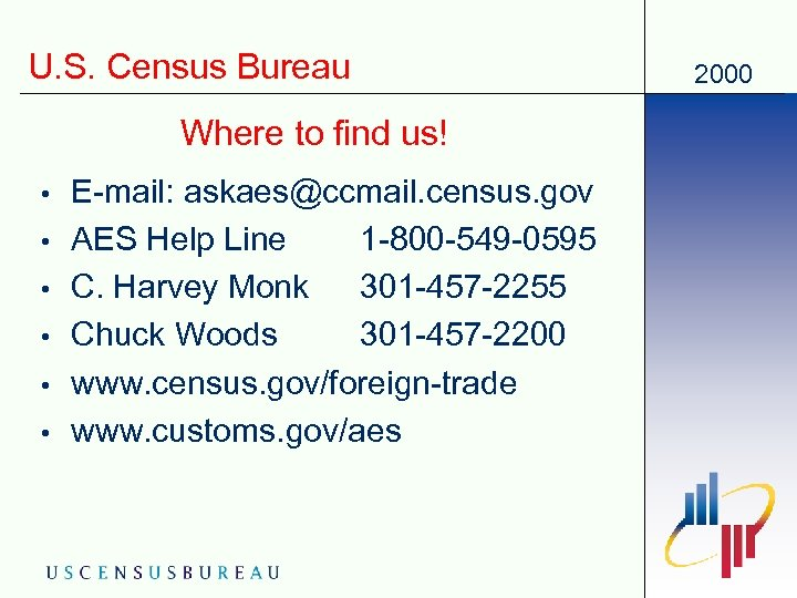 U. S. Census Bureau Where to find us! • • • E-mail: askaes@ccmail. census.