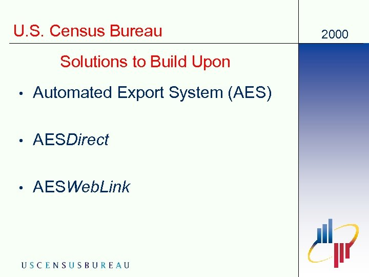 U. S. Census Bureau Solutions to Build Upon • Automated Export System (AES) •