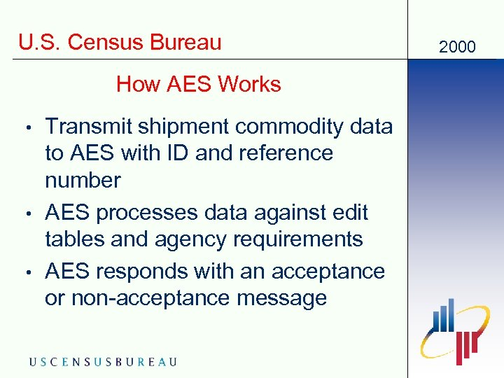 U. S. Census Bureau How AES Works • • • Transmit shipment commodity data