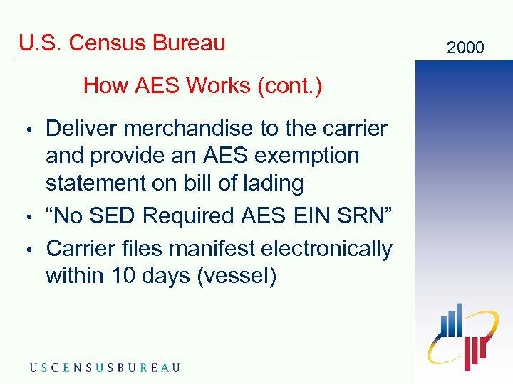 U. S. Census Bureau How AES Works (cont. ) • • • Deliver merchandise