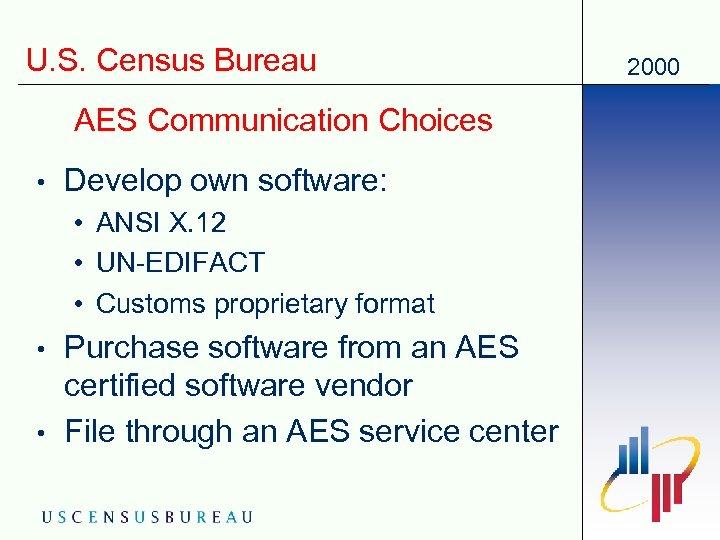 U. S. Census Bureau AES Communication Choices • Develop own software: • ANSI X.