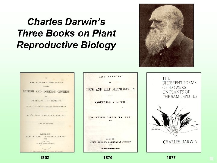 Charles Darwin's Three Books on Plant Reproductive Biology 1862 1876 1877