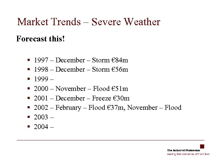 Market Trends – Severe Weather Forecast this! § § § § 1997 – December