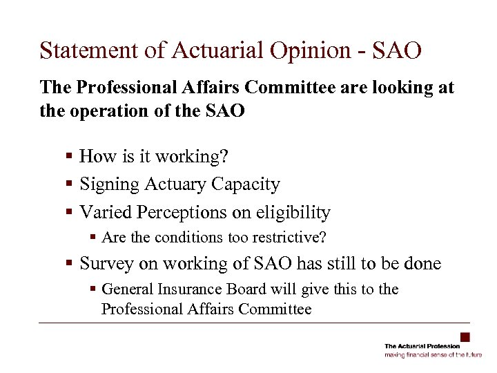 Statement of Actuarial Opinion - SAO The Professional Affairs Committee are looking at the