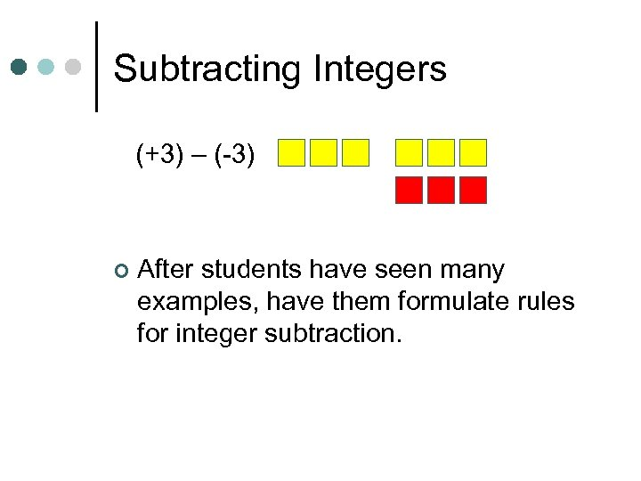 Subtracting Integers (+3) – (-3) ¢ After students have seen many examples, have them