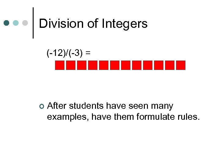 Division of Integers (-12)/(-3) = ¢ After students have seen many examples, have them