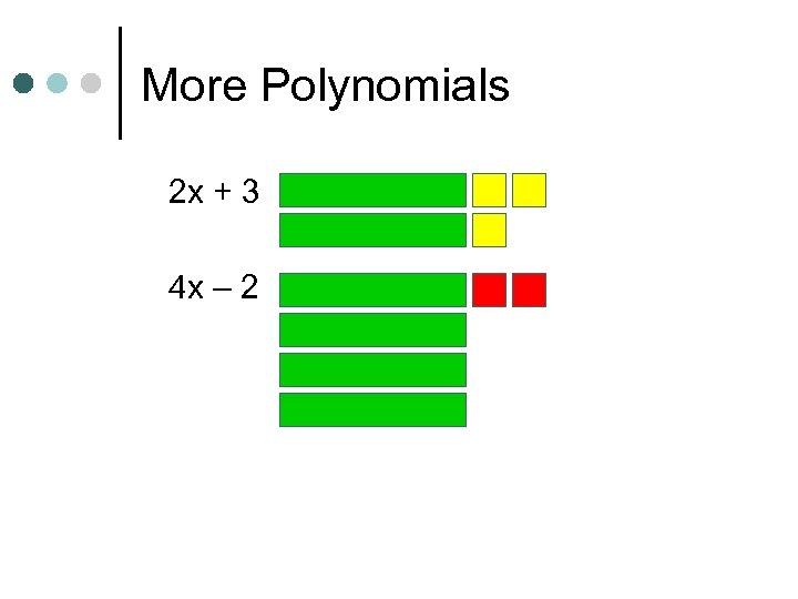 More Polynomials 2 x + 3 4 x – 2