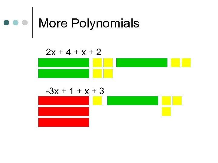 More Polynomials 2 x + 4 + x + 2 -3 x + 1