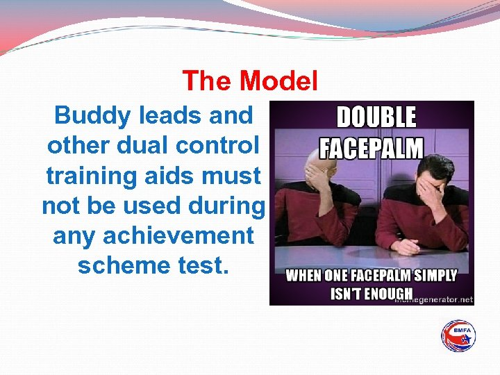 The Model Buddy leads and other dual control training aids must not be used