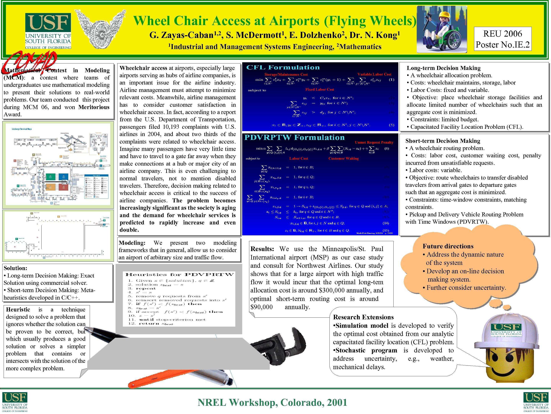 Wheel Chair Access at Airports (Flying Wheels) G. 1, 2, Zayas-Caban 1 Industrial Mathematical