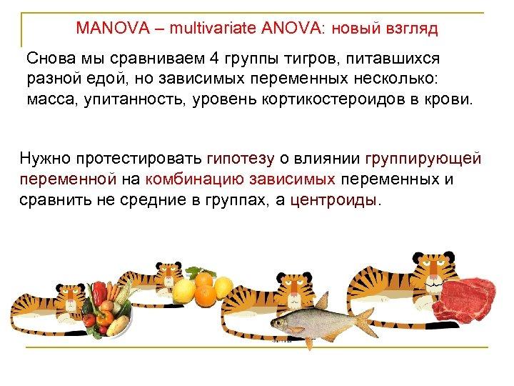 MANOVA – multivariate ANOVA: новый взгляд Снова мы сравниваем 4 группы тигров, питавшихся разной