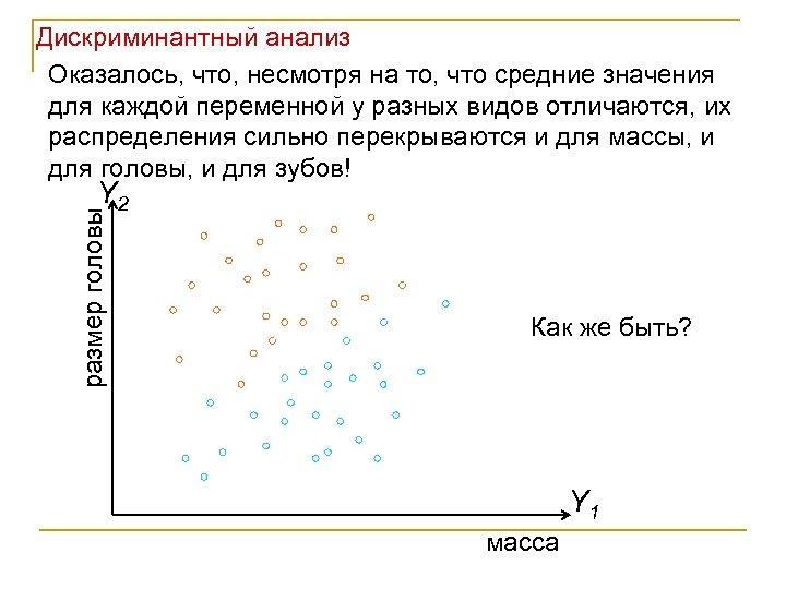 Дискриминантный анализ Оказалось, что, несмотря на то, что средние значения для каждой переменной у