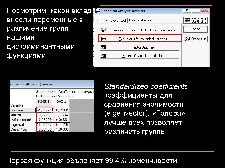 Посмотрим, какой вклад внесли переменные в различение групп нашими дискриминантными функциями. Standardized coefficients –