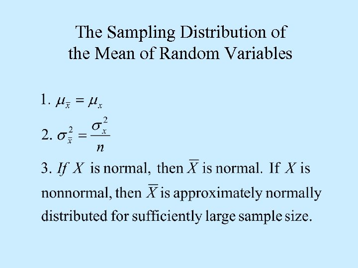 The Sampling Distribution of the Mean of Random Variables