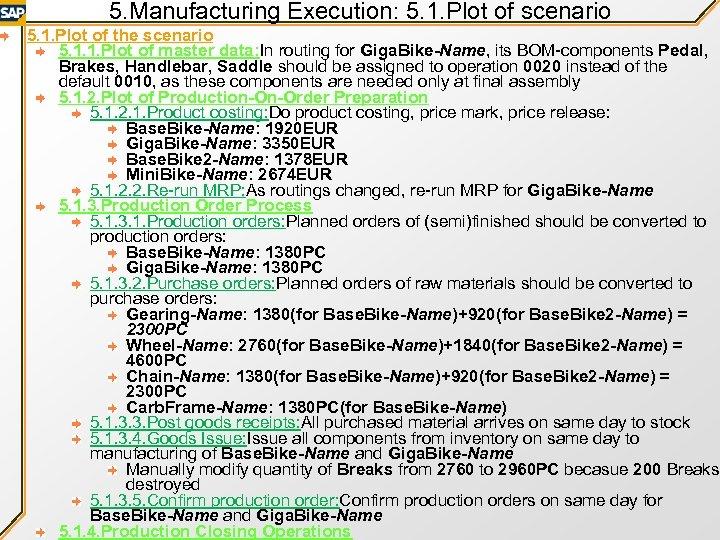 5. Manufacturing Execution: 5. 1. Plot of scenario 5. 1. Plot of the scenario