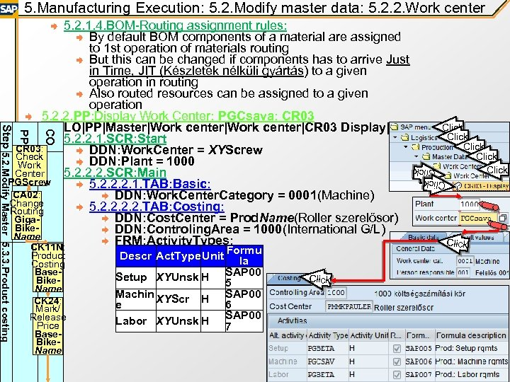5. Manufacturing Execution: 5. 2. Modify master data: 5. 2. 2. Work center Product