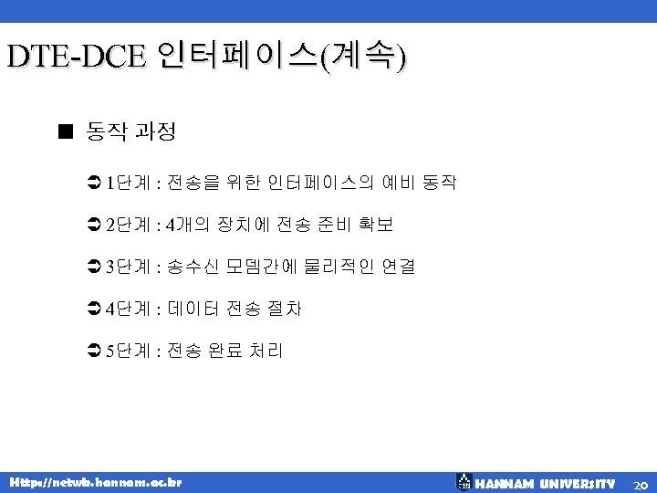 DTE-DCE 인터페이스(계속) < 동작 과정 Ü 1단계 : 전송을 위한 인터페이스의 예비 동작 Ü
