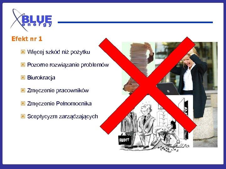Efekt nr 1 ý Więcej szkód niż pożytku ý Pozorne rozwiązanie problemów ý Biurokracja