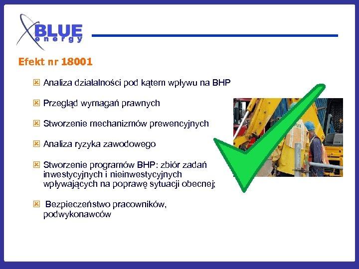 Efekt nr 18001 ý Analiza działalności pod kątem wpływu na BHP ý Przegląd wymagań