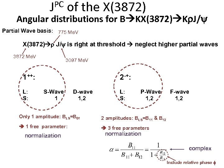 JPC of the X(3872) Angular distributions for B KX(3872) Kr. J/ Partial Wave basis: