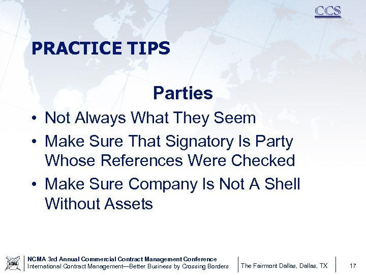 CCS PRACTICE TIPS Parties • Not Always What They Seem • Make Sure That