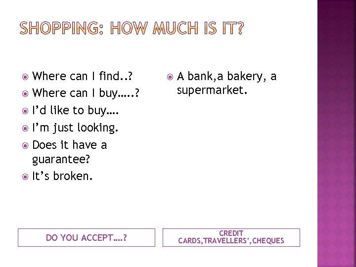 Where can I find. . ? Where can I buy…. . ? I'd like