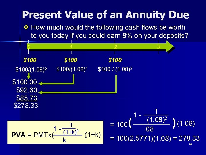 Present Value of an Annuity Due v How much would the following cash flows