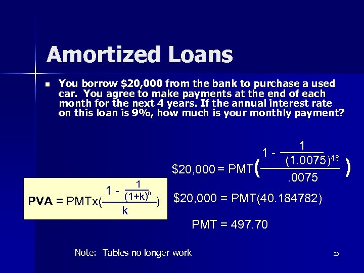 Amortized Loans n You borrow $20, 000 from the bank to purchase a used