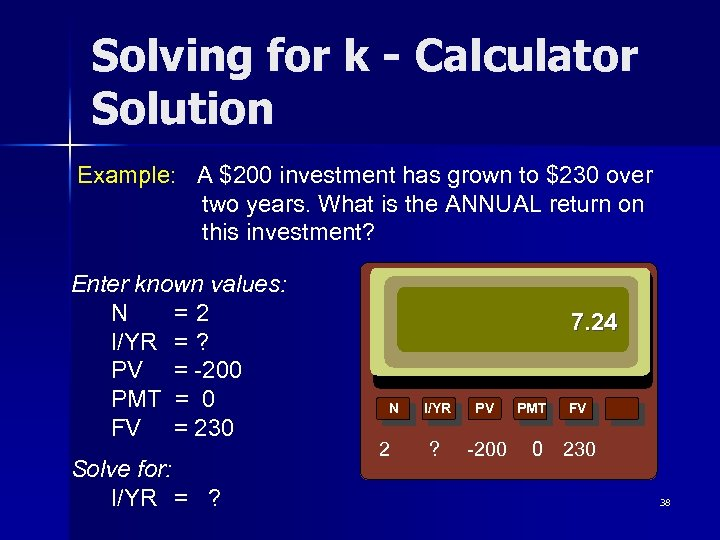 Solving for k - Calculator Solution Example: A $200 investment has grown to $230