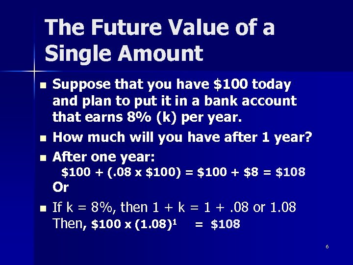 The Future Value of a Single Amount n n n Suppose that you have