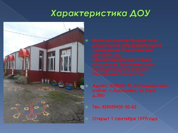 Характеристика ДОУ Муниципальное бюджетное дошкольное образовательное учреждение Кудашевский детский сад общеразвивающего вида «Родничок» Бугульминского
