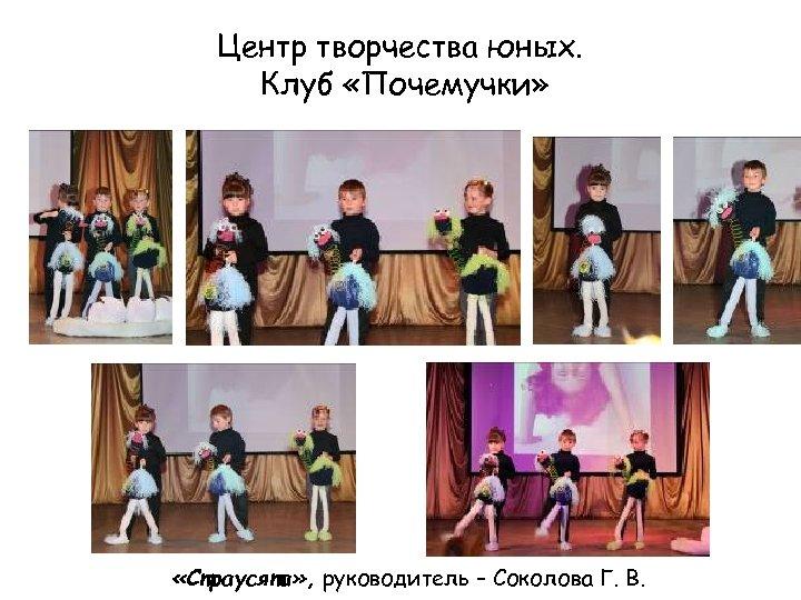Центр творчества юных. Клуб «Почемучки» «Страусята» , руководитель – Соколова Г. В.