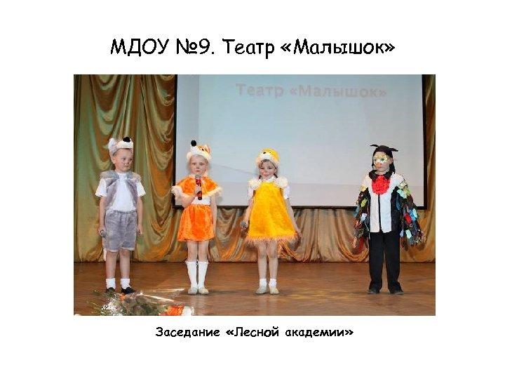 МДОУ № 9. Театр «Малышок» Заседание «Лесной академии»