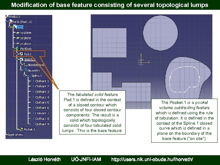 Modification of base feature consisting of several topological lumps The tabulated solid feature Pad.