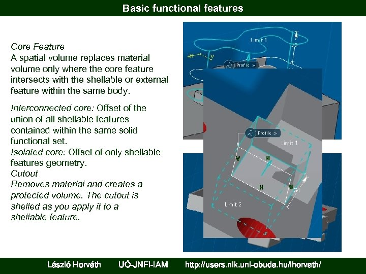 Basic functional features Core Feature A spatial volume replaces material volume only where the